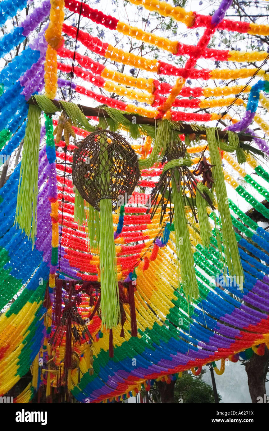 Coloured banners and streamers ready for festival in Icod de los Vinos Tenerife Canary Islands Spain - Stock Image