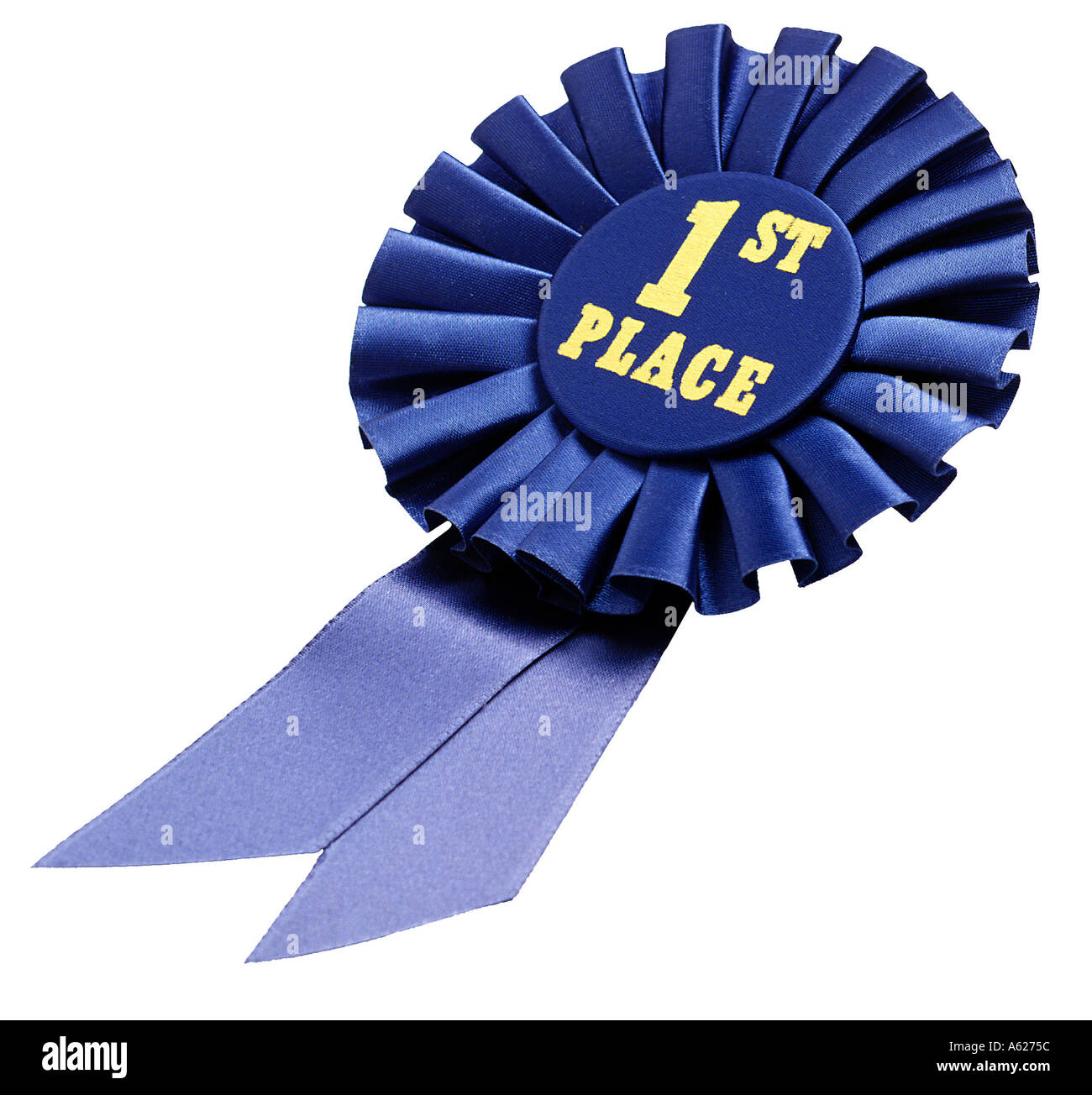 Blue ribbon 1st place facing left - Stock Image