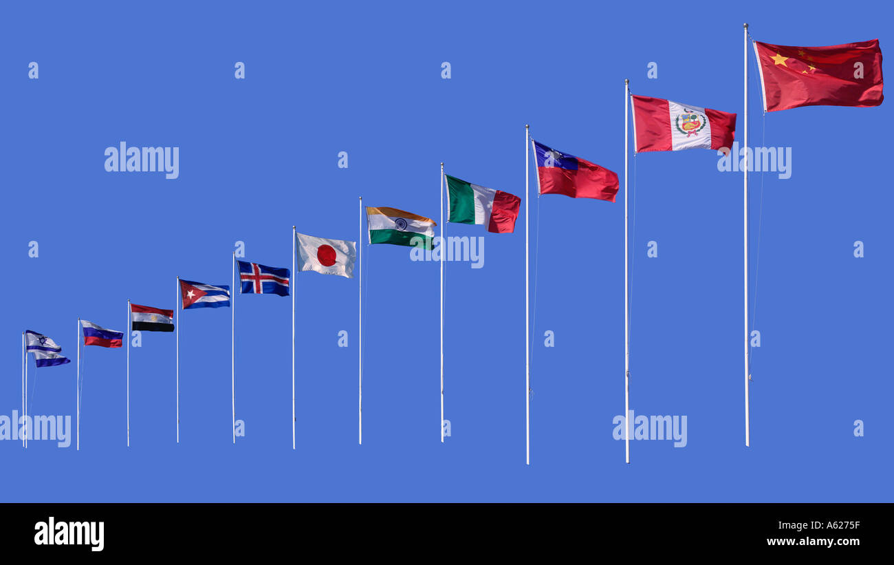 International flags against blue - Stock Image