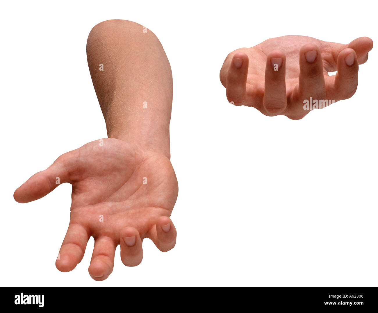 Two hands juggle virtual objects - Stock Image