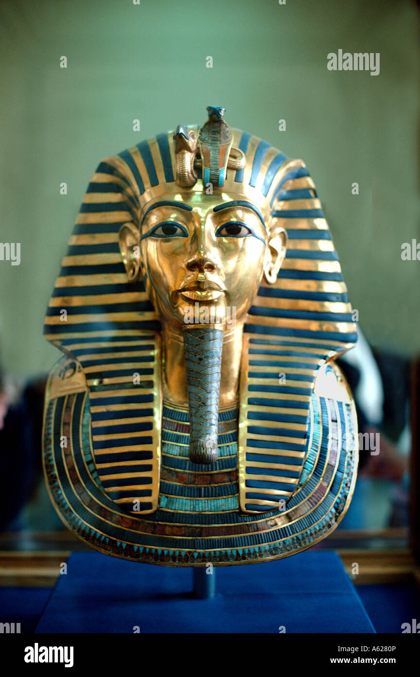 The beautiful yellow gold death mask of Tutankhamen Cairo Museum Egypt north Africa - Stock Image