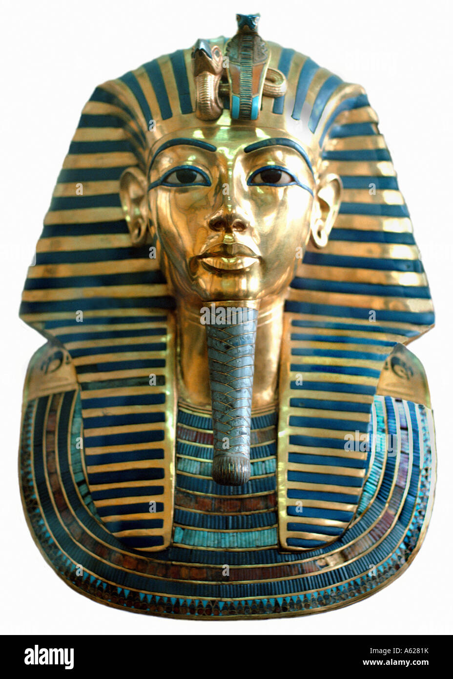Cut out of the beautiful yellow gold death mask of Tutankhamen Cairo Museum Egypt north Africa - Stock Image