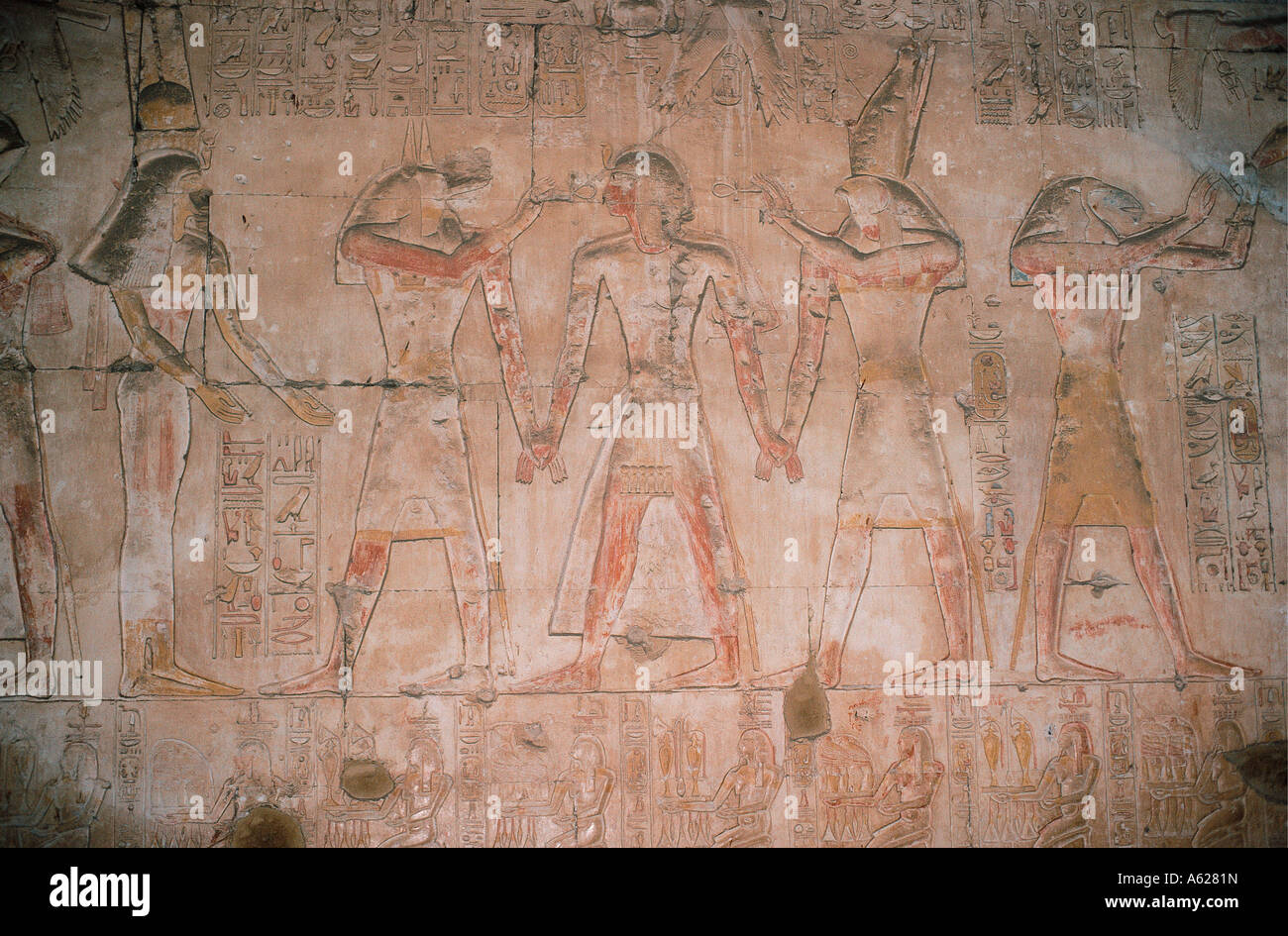 Details of reliefs inside the Temple of Abydos in Egypt - Stock Image