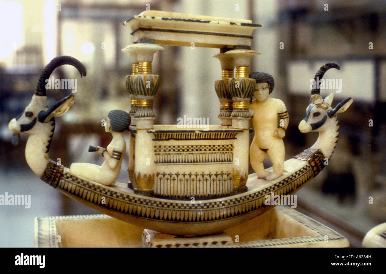 Alabaster model of Funerary Boat from tomb of Tutankhamen Egyptian Museum of Antiquities Cairo Egypt - Stock Image