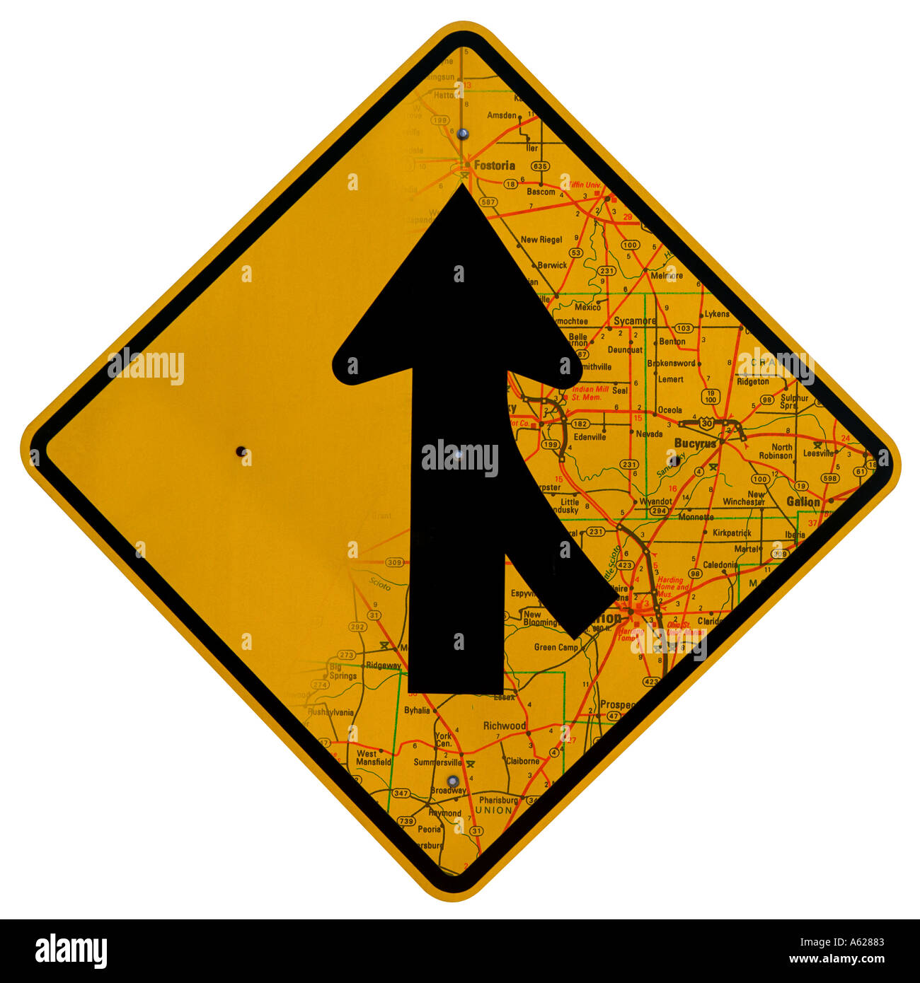 Merge sign with map blend - Stock Image