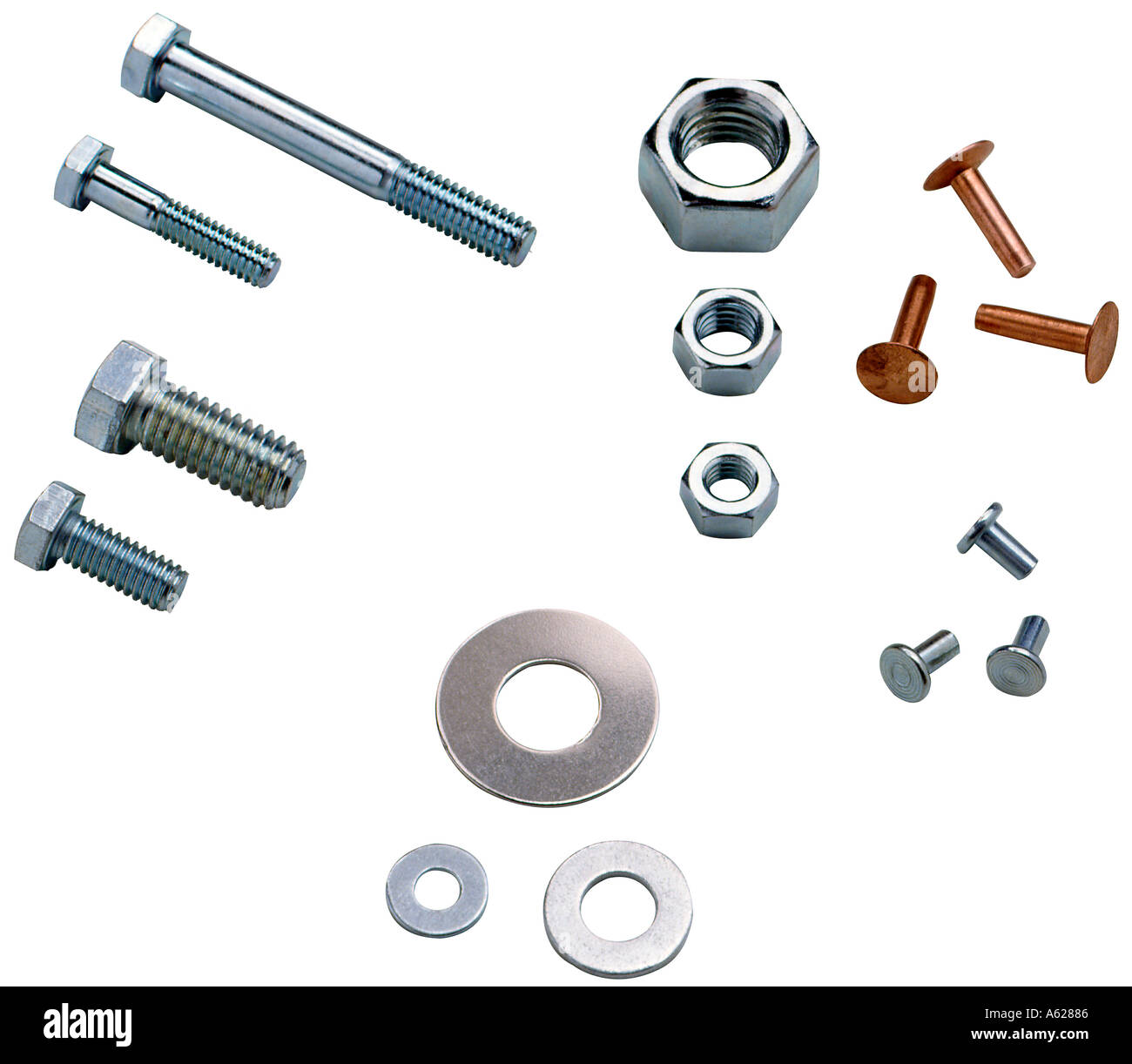 Various nuts bolts and washers Stock Photo