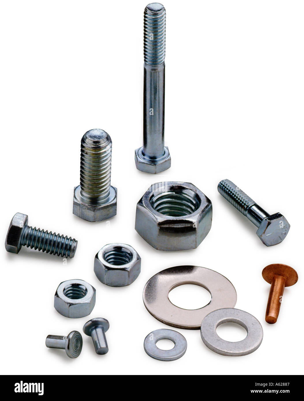 Various nuts bolts and washers - Stock Image