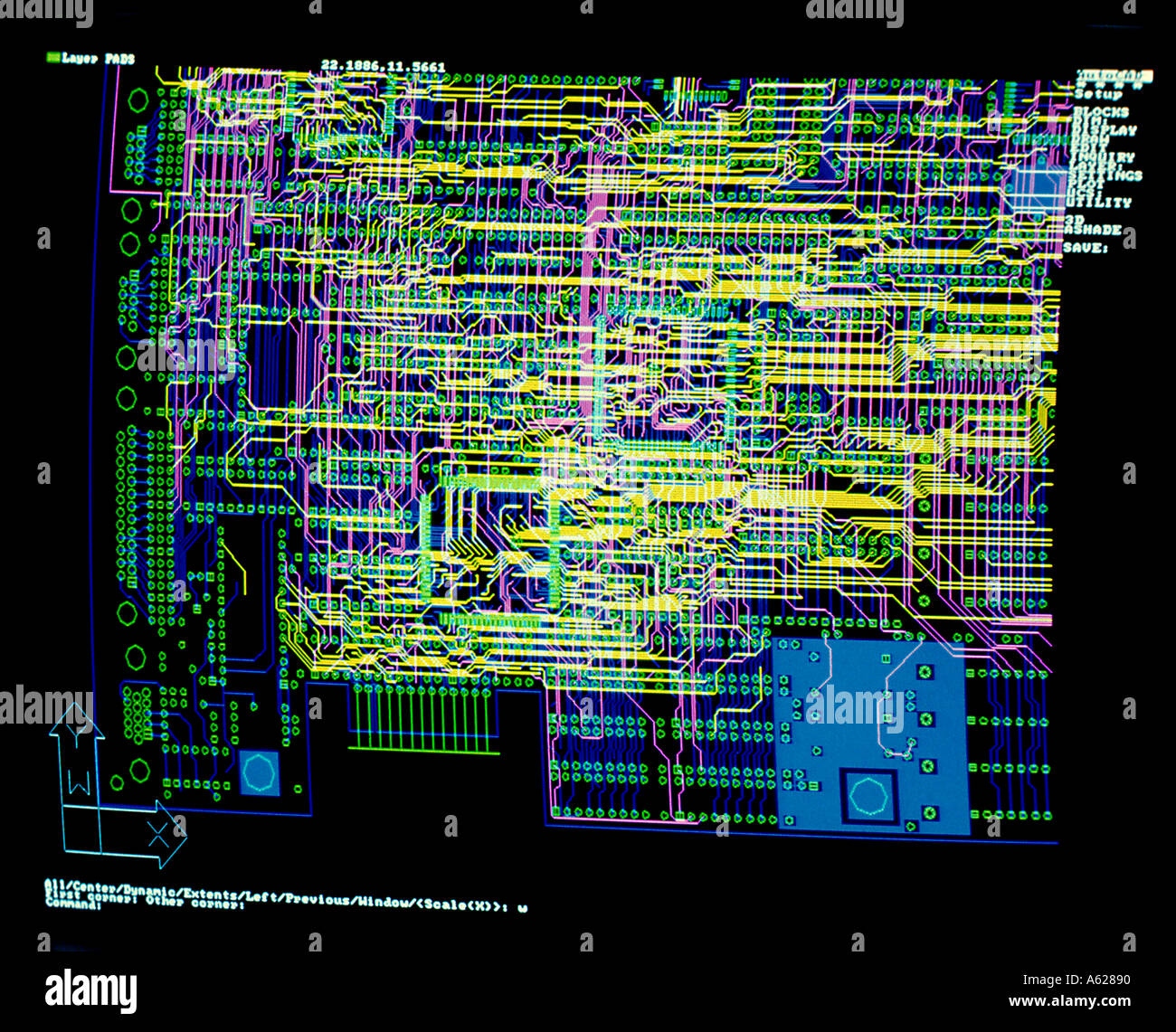Monitor display of CPU design and schematic
