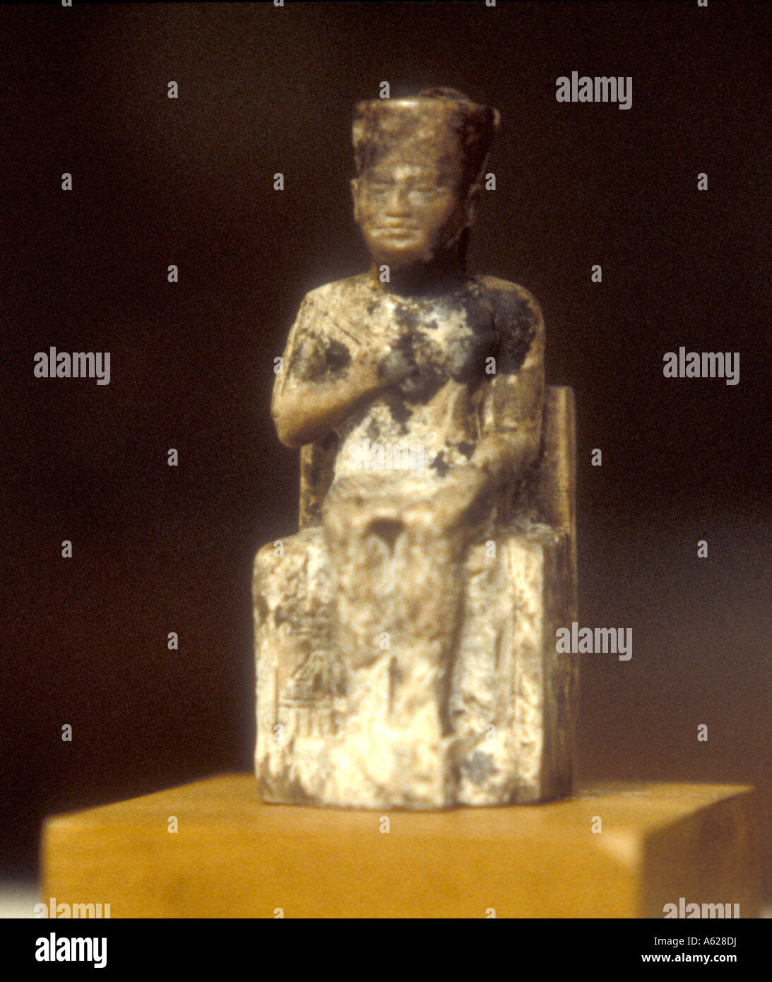 Close up of ivory statuette of king Cheops Egyptian Museum of Antiquities Cairo Egypt - Stock Image