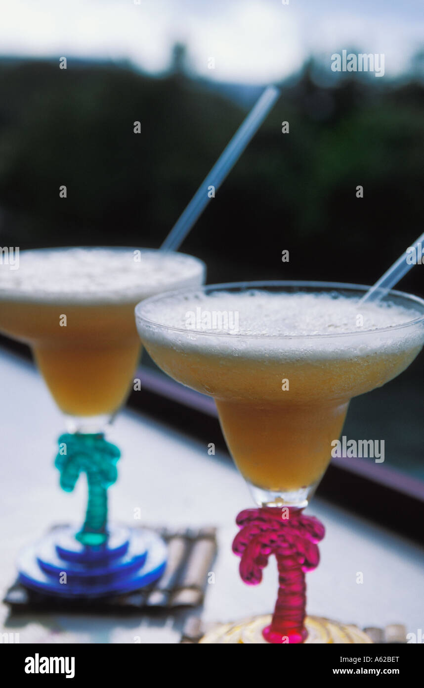 Cocktail from Ian Fleming's estate Golden Eye on North Coast of Jamaica - Stock Image