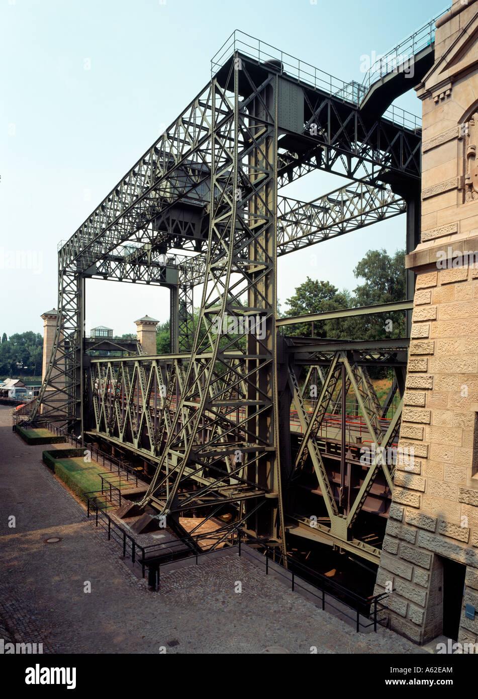 Waltrop-Oberwiese, Altes Schiffshebewerk Henrichenburg, Konstruktion Stock Photo