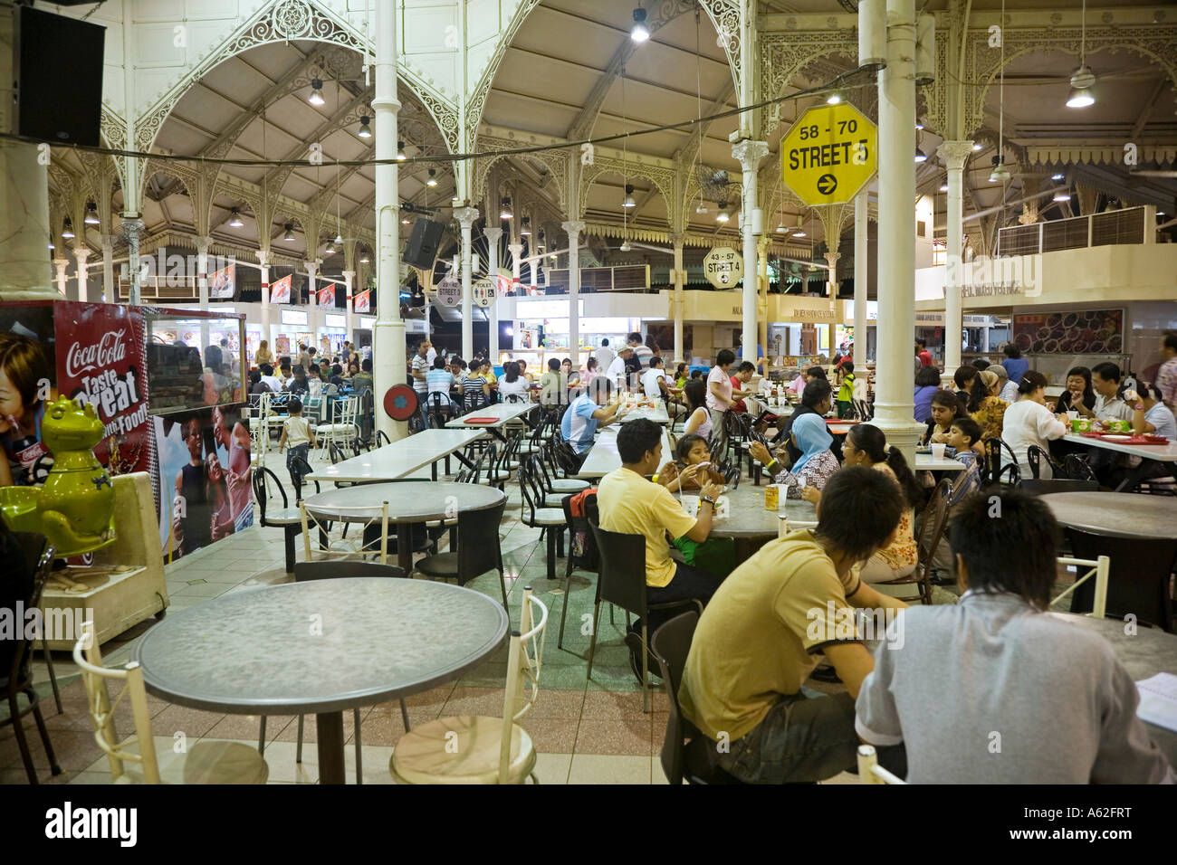 Inside Lau Pa Sat Hawker Food Centre Chinatown Singapore Stock