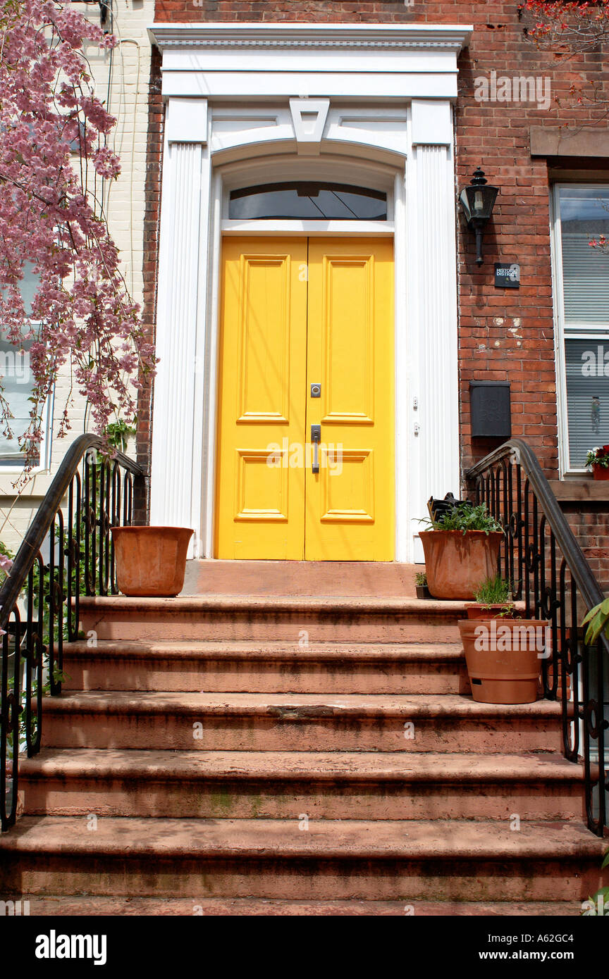 Door Front Door Steps Steps To Door Outside Door Apartment Door Brownstone  Neighborhood Iron Railings Brick Building Front Porch