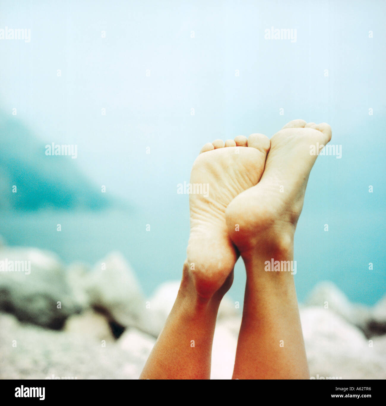 Soles of foot, close-up - Stock Image