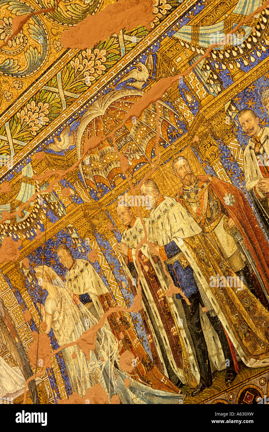 Mosaic of the Hohenzollern rulers inside 19th century Kaiser Wilhelm Peace Church Berlin Germany - Stock Image