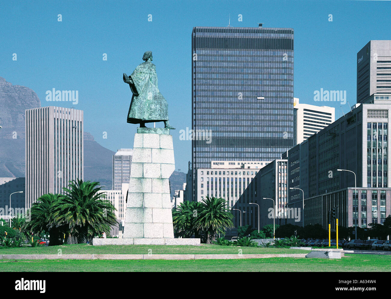 Statue of Bartolomeu Dias Portuguese navigator and explorer and first white man to see South Africa Cape Town South Africa - Stock Image
