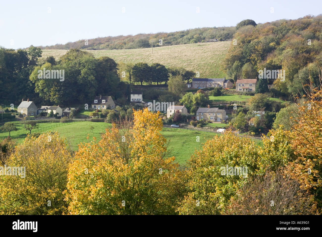 Autumn in the Cotswold village of Ruscombe in the Stroud Valleys Gloucestershire - Stock Image