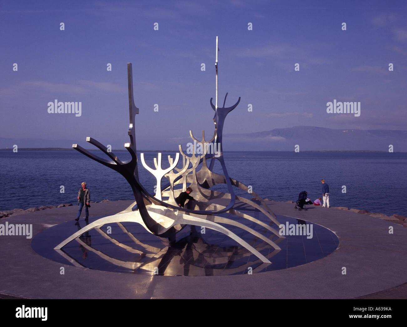 Metallic longship sculpture, Reykjavik, Iceland - Stock Image