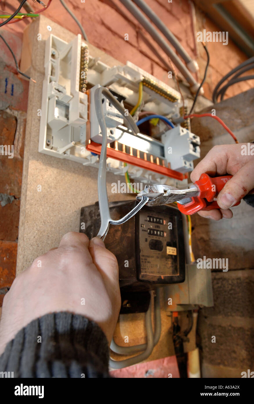 Consumer Unit Stock Photos Images Alamy Old Style Air Conditioner Fuse Box An Electrician Removes Electricity Boxes And Installs A Memera Uk