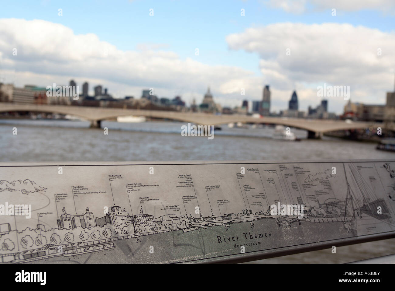 united kingdom central london view from the jubilee pedestrian bridge - Stock Image
