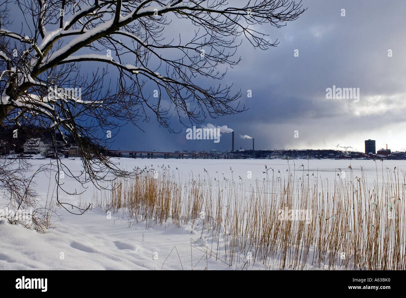 Winter view of Stockholm as seen from the island of Lidingö Stock Photo