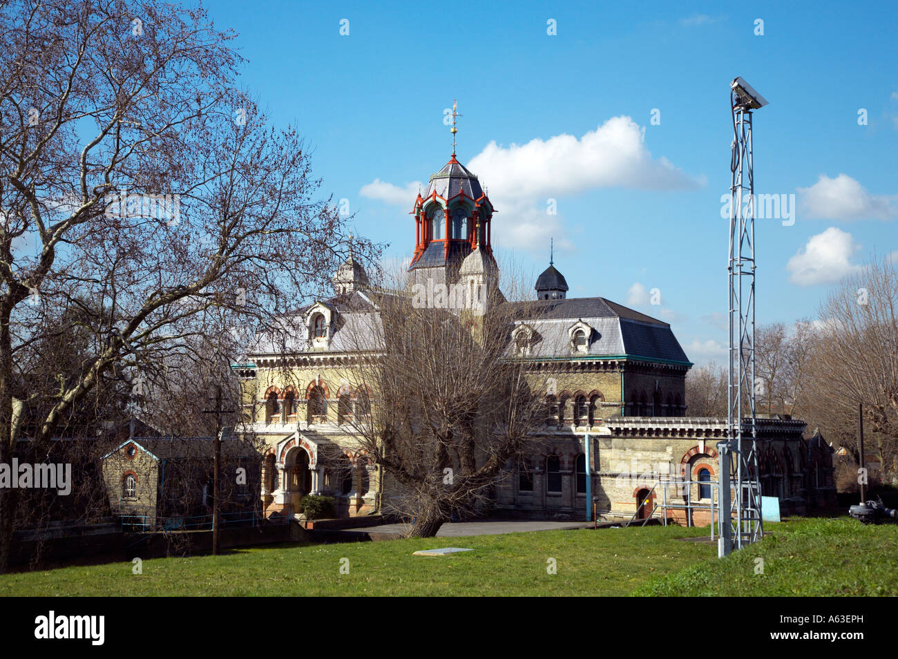 The disused Victorian Abbey Mills Sewage Pumping Station East London in spring - Stock Image