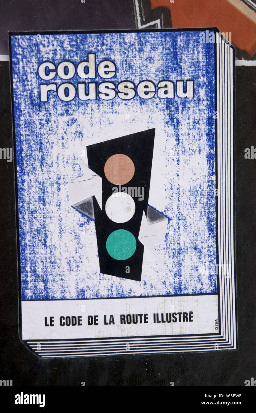 Code rousseau - French highway code sign - Stock Image