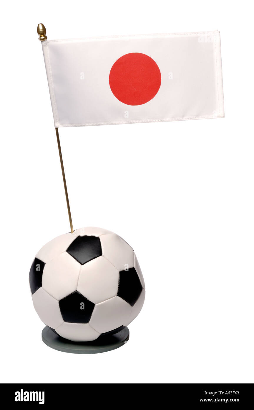 Football and Japan national flag trophy - Stock Image