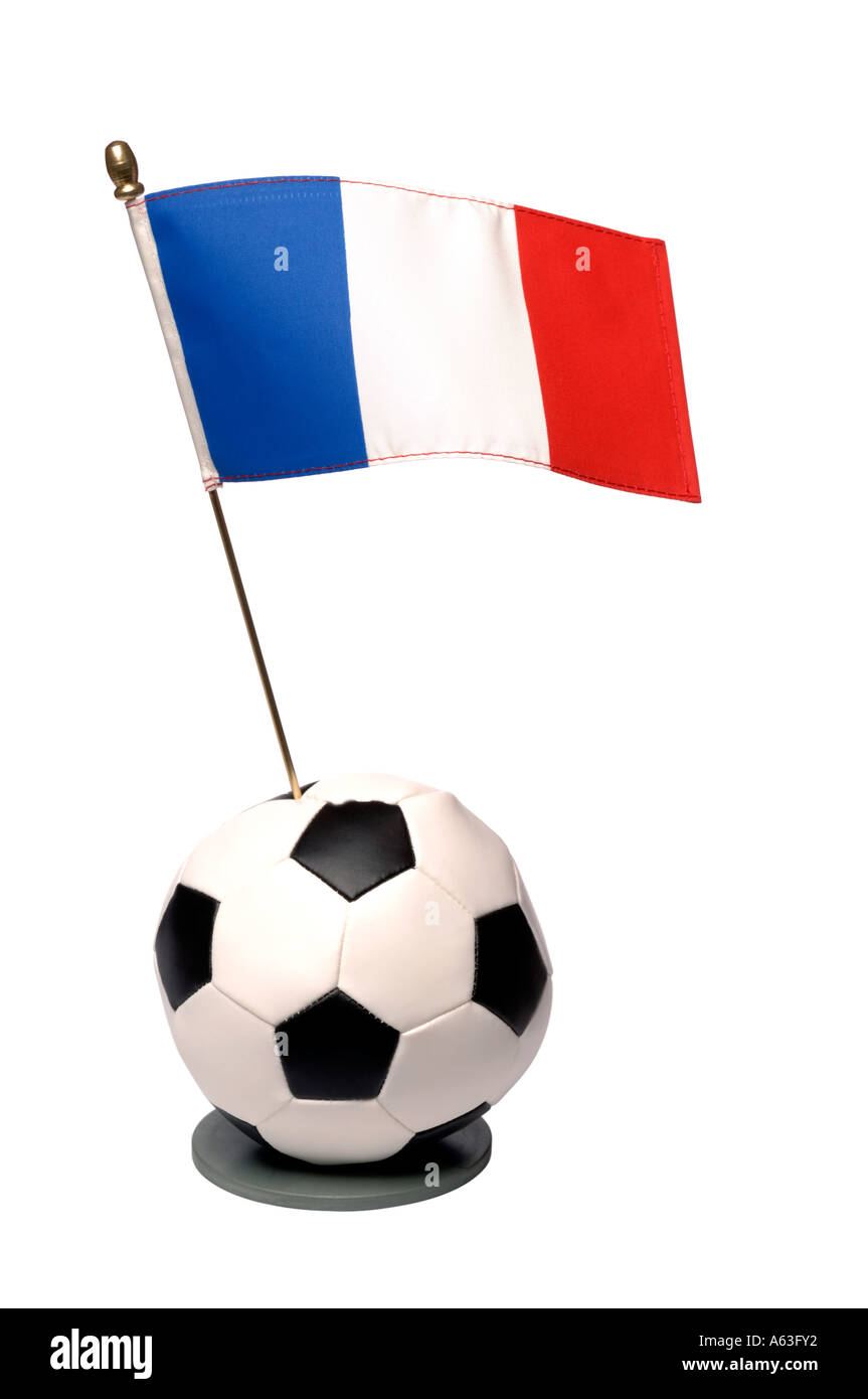 Football and France national flag trophy - Stock Image