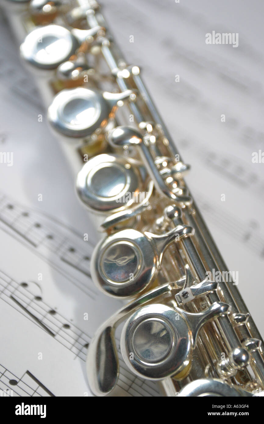 Flute musical instrument close up of keys with sheet music
