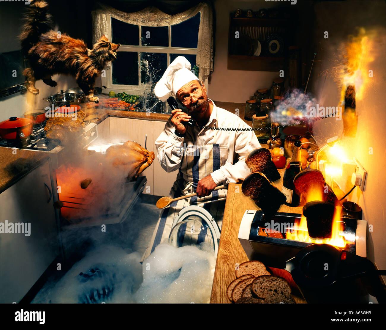 Kitchen Disaster: Fire Extinguisher Kitchen Stock Photos & Fire Extinguisher
