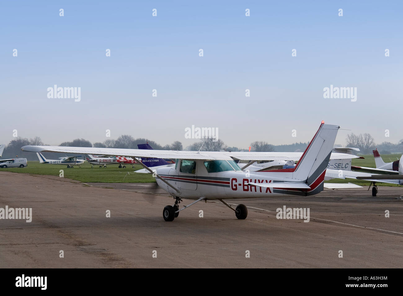 Cessna 152 private aircraft taxiing at Stapleford airfield in Essex England UK - Stock Image