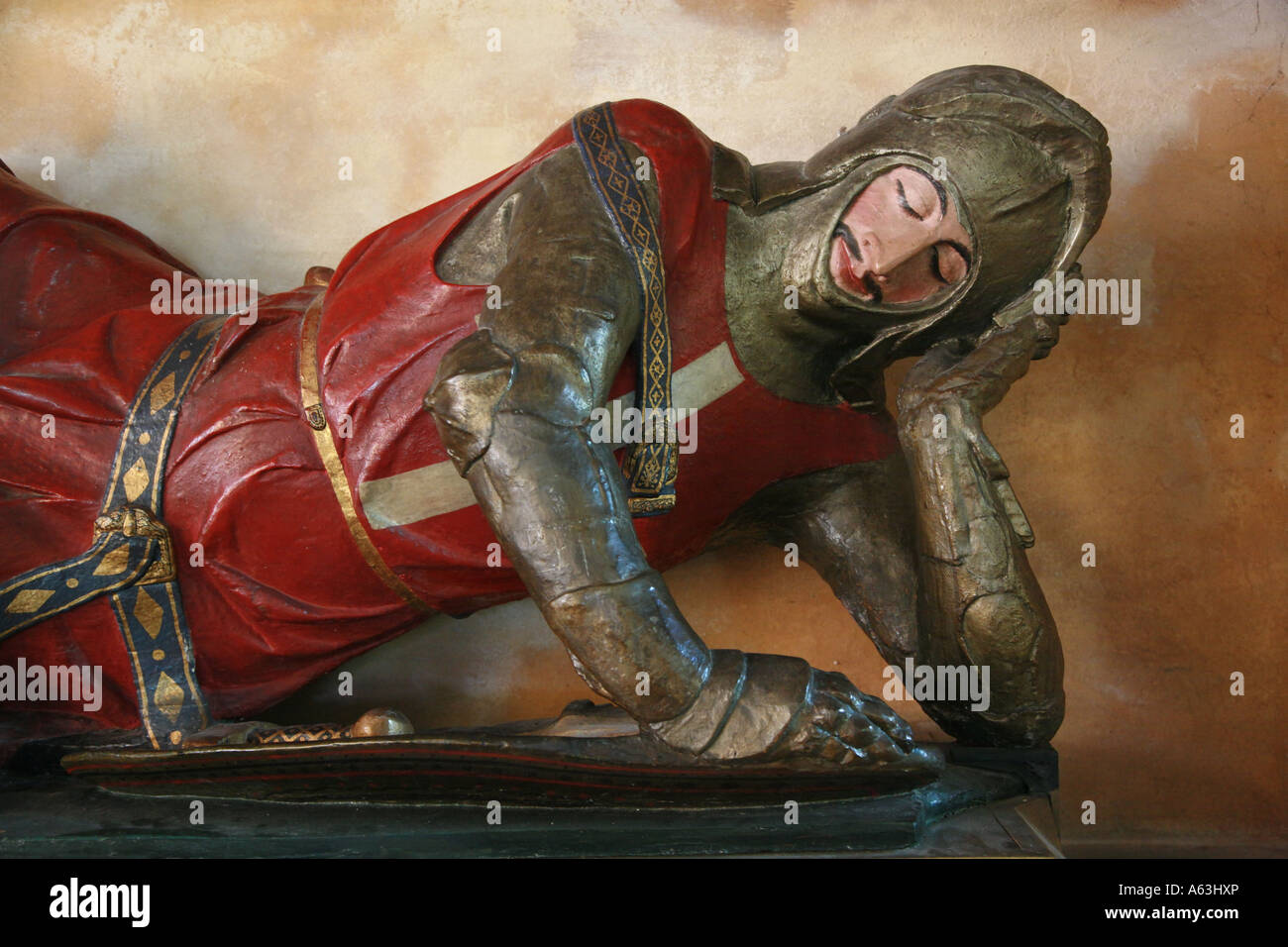 Reclining knight on a tomb in the church of St Andrew's Chew Magna Somerset - Stock Image