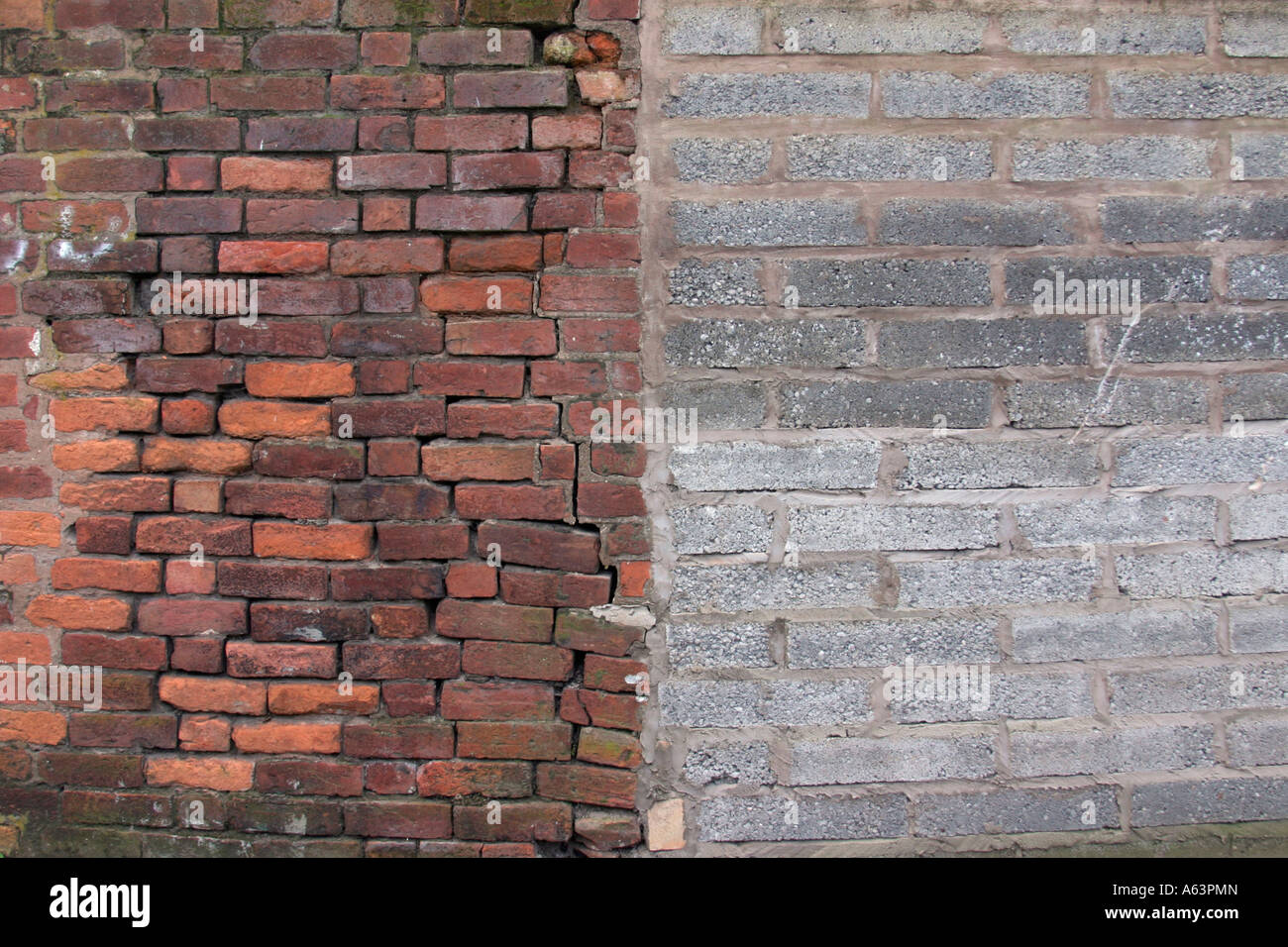 Old Brick Wall Butting On To A Newly Built Breeze Block Wall   Stock Image