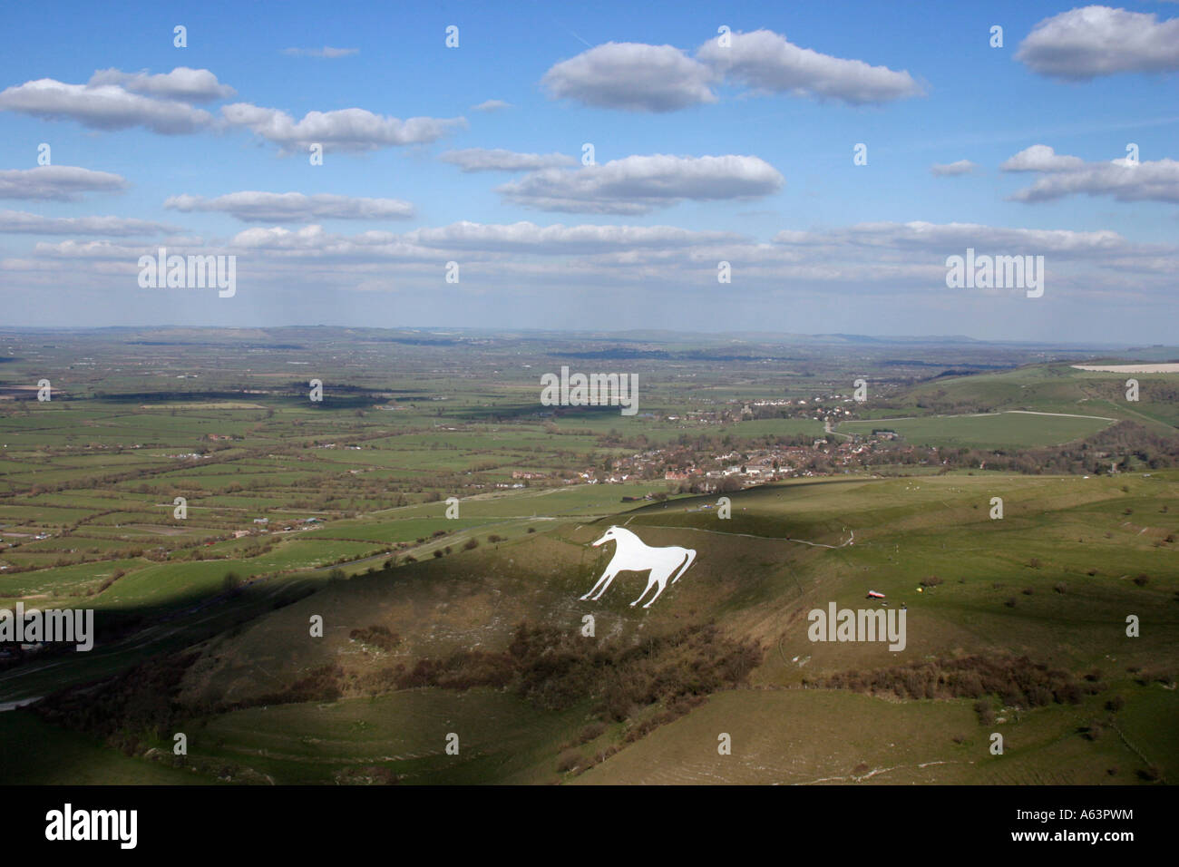 Westbury White Horse and Bratton Camp Wiltshire UK seen from the air late winter early spring Stock Photo