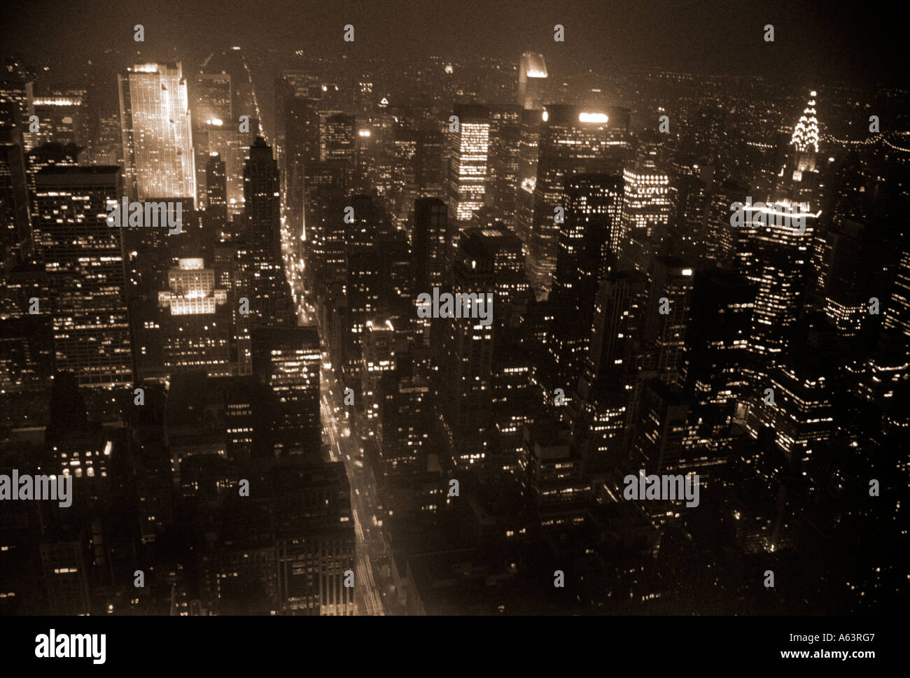 NYC At Night,As Seen From The Top Of The Empire State Building Stock Photo