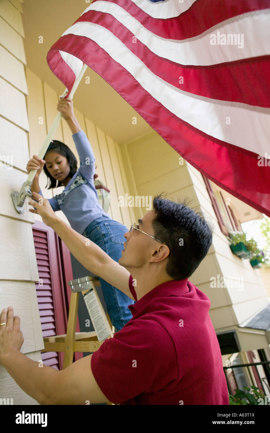American US Flag at Home - Stock Image