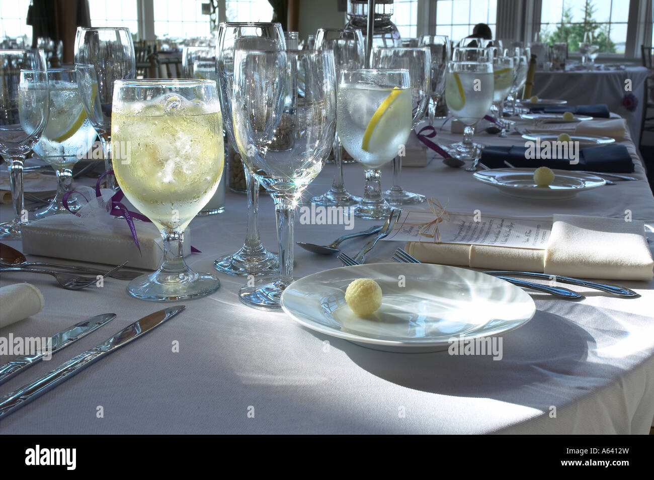 Banquet Table Detail View Of Empty Drinking Glasses Before Wedding Celebration Event  USA Stock Photo