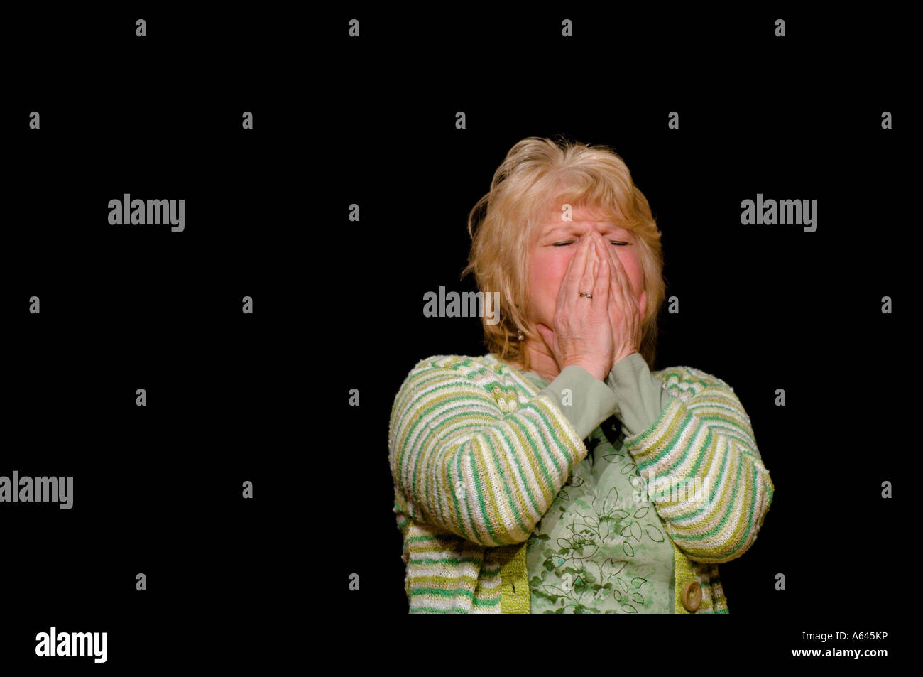 A woman upset and crying. Picture by Jim Holden. - Stock Image