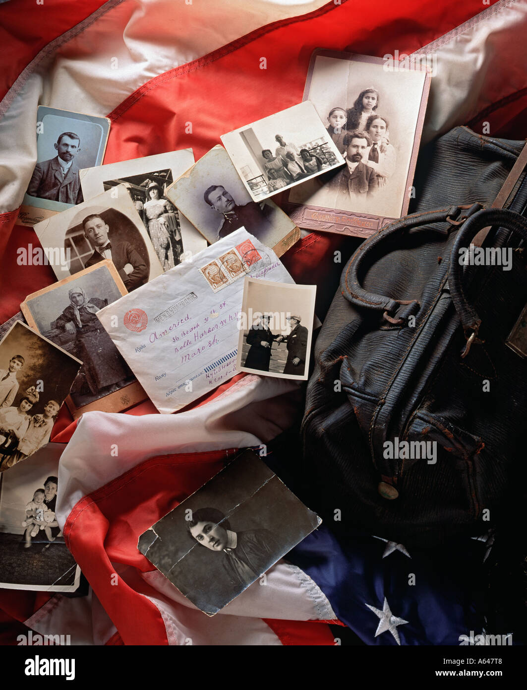 Still life of mementos of Immigrant family USA - Stock Image