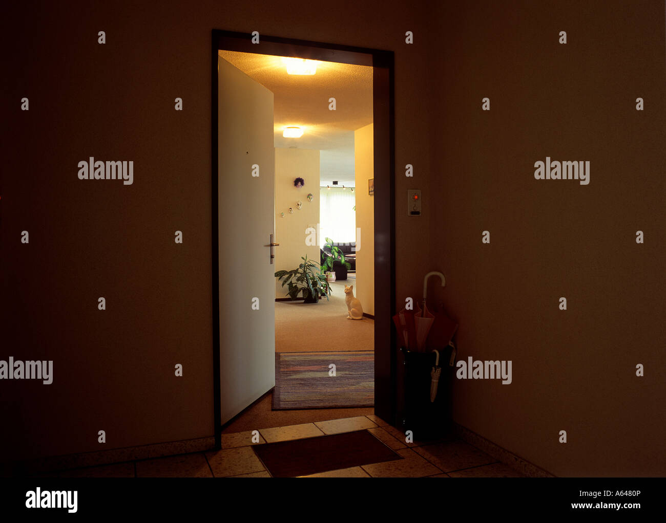 view from corridor to livingroom - Stock Image