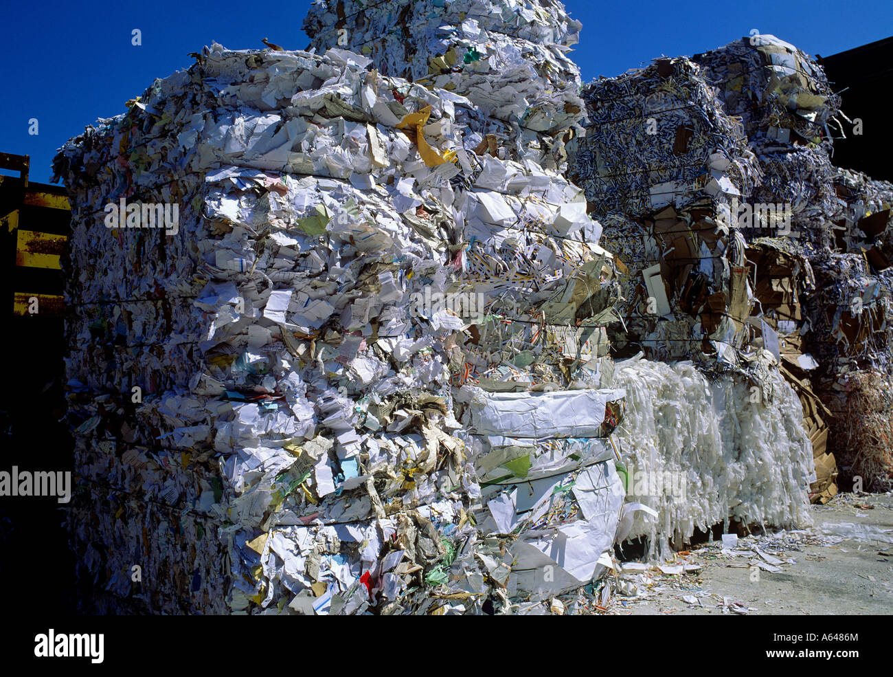 waste paper at collecting point - Stock Image