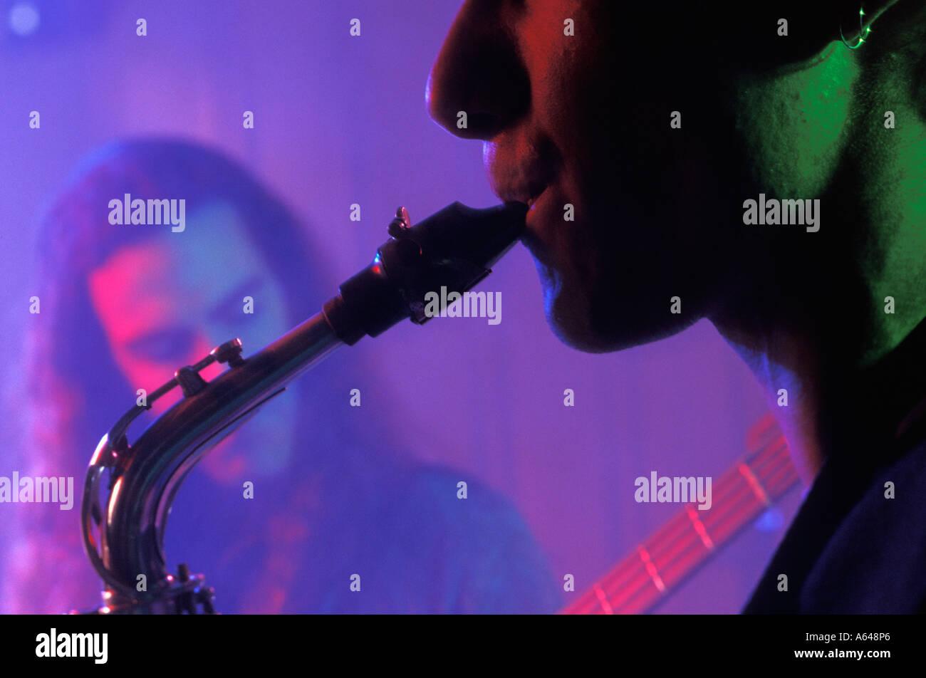 Jazz saxaphone player - Stock Image