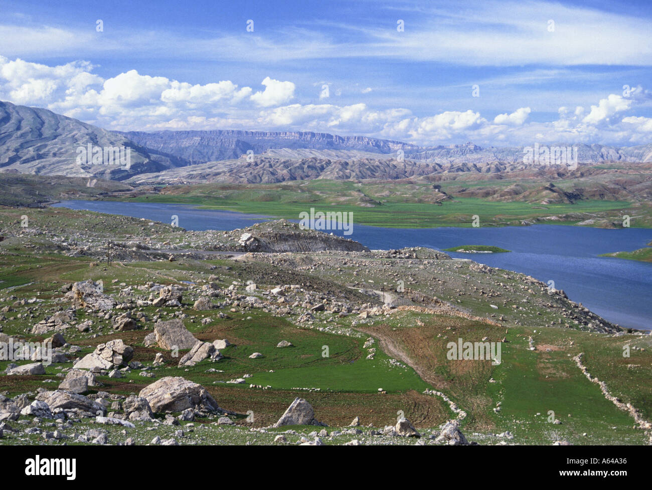 Iran hilly scenic and lake Des near Pol e Dochtar - Stock Image