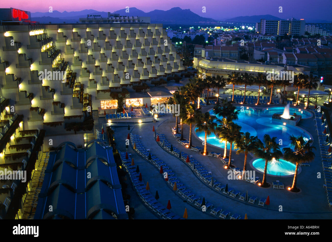 hotel complex of royal mediterraneo at evening resort of sa coma island of mallorca balearic islands spain editorial - Stock Image