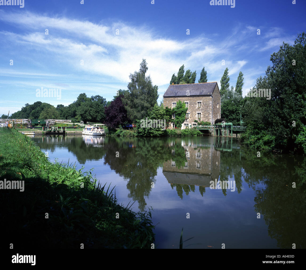 France Brittany River Rance Watermill - Stock Image