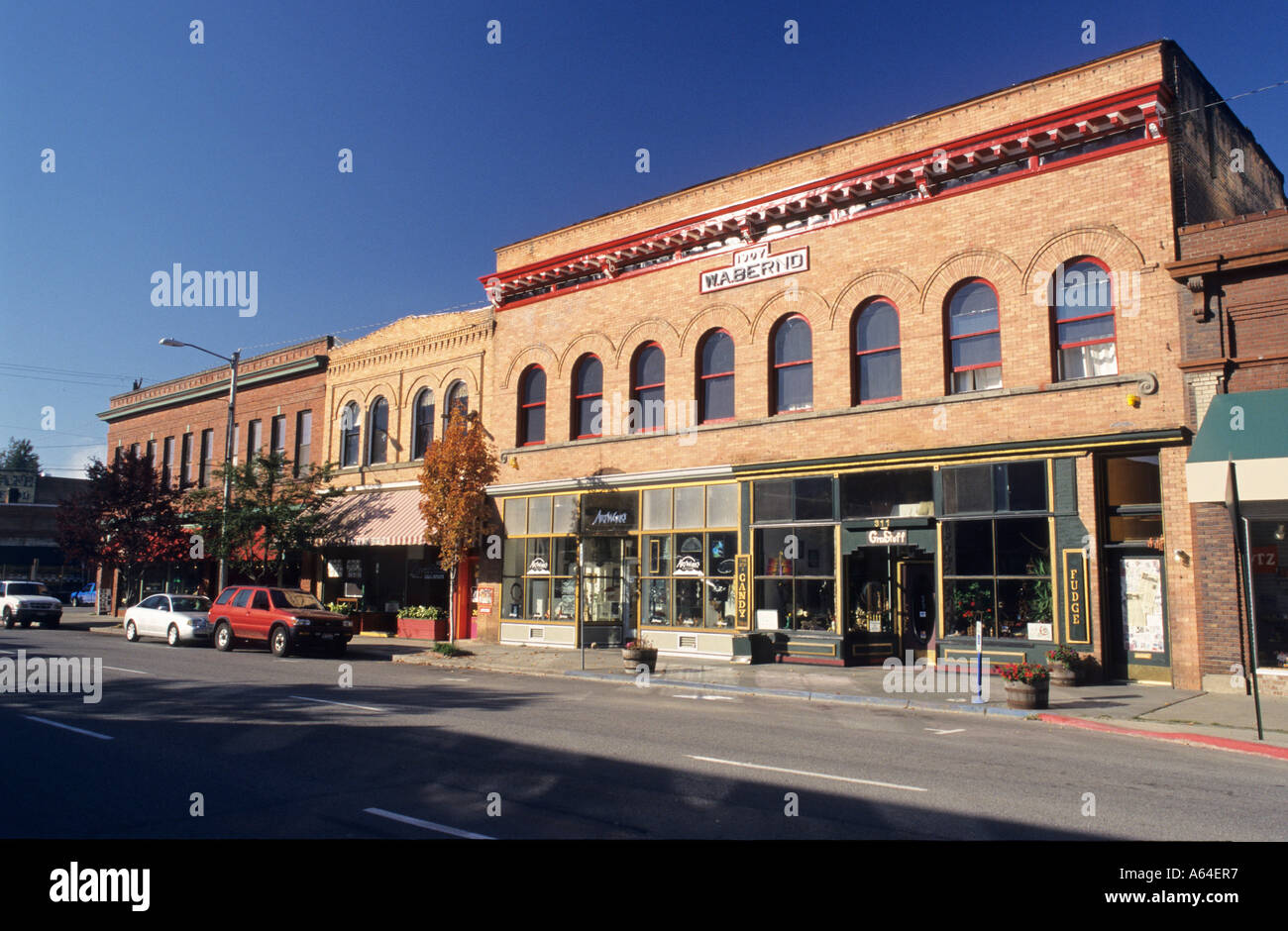 Historic buildings, Mainstreet of Sandpoint, Lake Pend Oreille, Idaho, USA - Stock Image