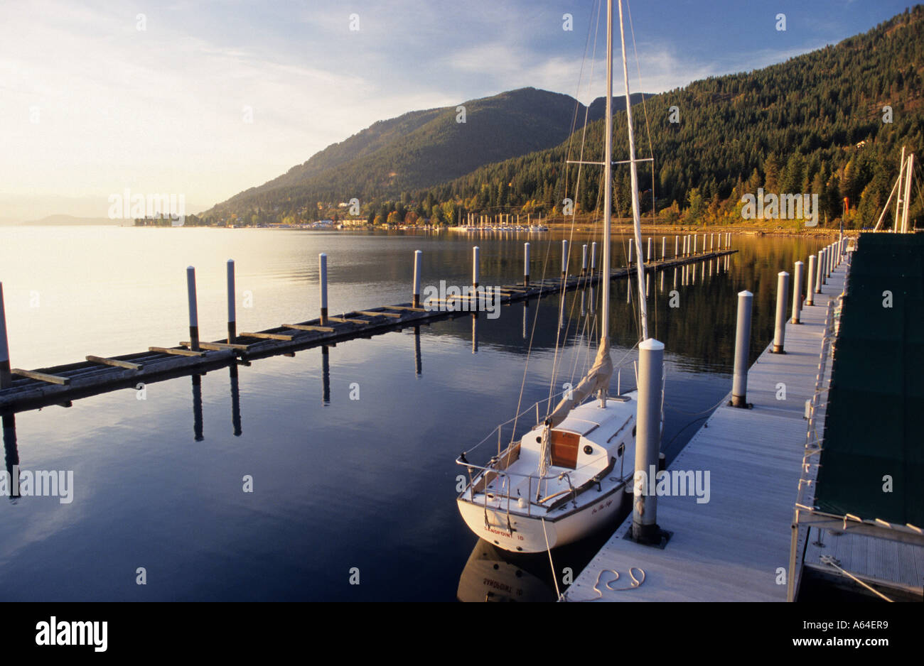 Sailboat in the harbour of Hope, Lake Pend Oreille, Idaho, USA - Stock Image