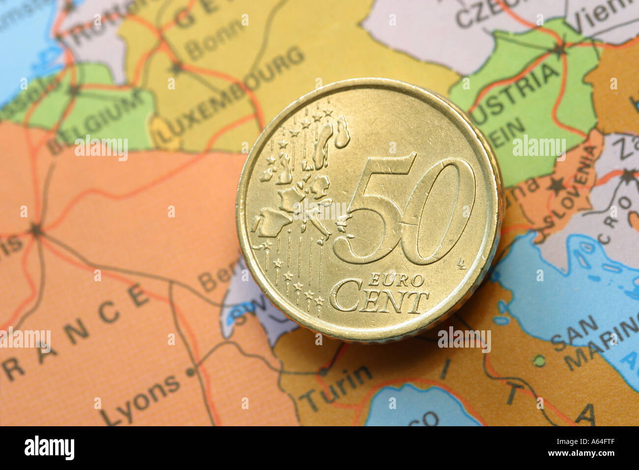 Euro 50 cent coin on map of