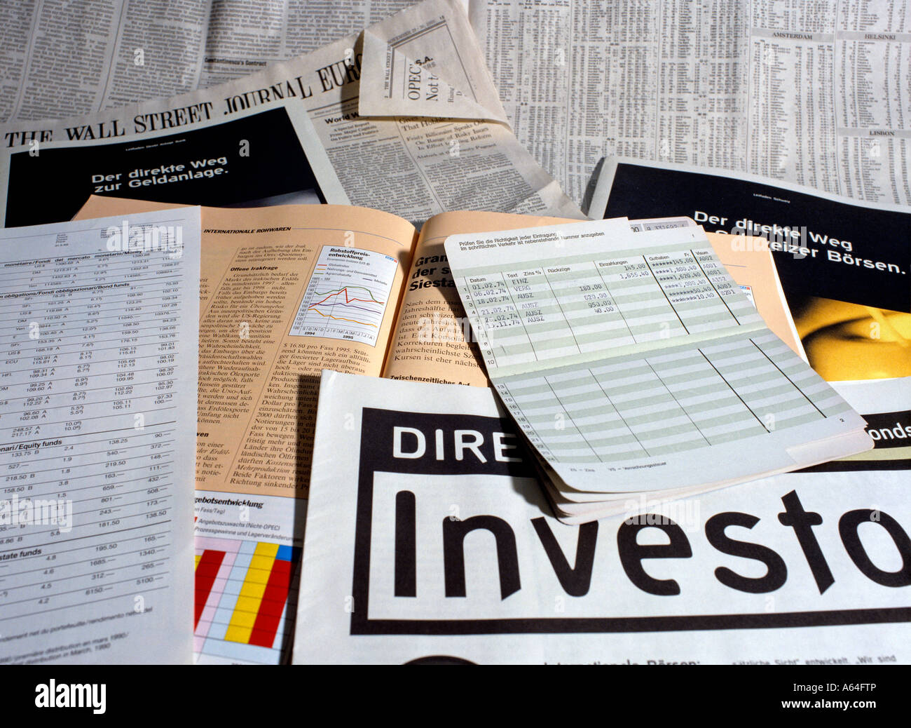 investment guide magazines and brochures for active portfolio strategy editorial use only - Stock Image